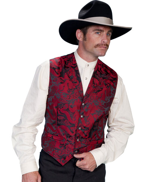 WahMaker Old West by Scully Dragon Pattern Vest, Red, hi-res