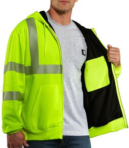 Carhartt Men's High-Visibility Class 3 Thermal Lined Jacket - Big & Tall, Lime, hi-res