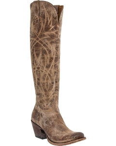Lucchese Courtney Mad Dog Tall Boots - Round Toe, Tan, hi-res