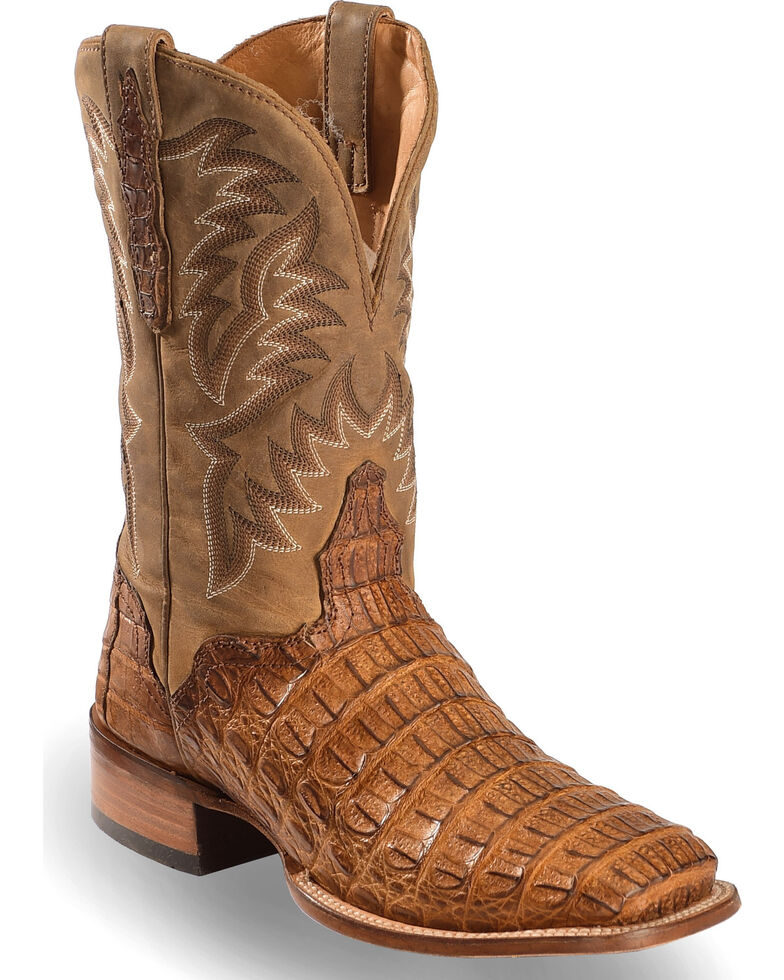 El Dorado Men's Handmade Caiman Back Apache Stockman Boots - Square Toe, Brown, hi-res