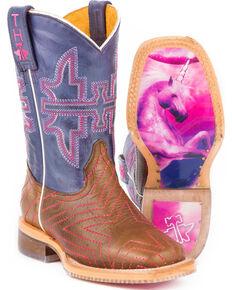 e1c99e3f8ced Tin Haul Girls Brown Starlight Western Boots - Square Toe