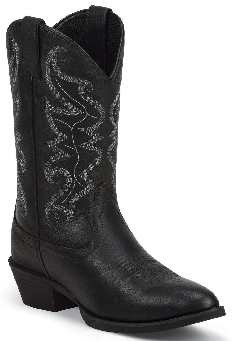 Justin Men's All Star Black Western Boots - Round Toe , Black, hi-res