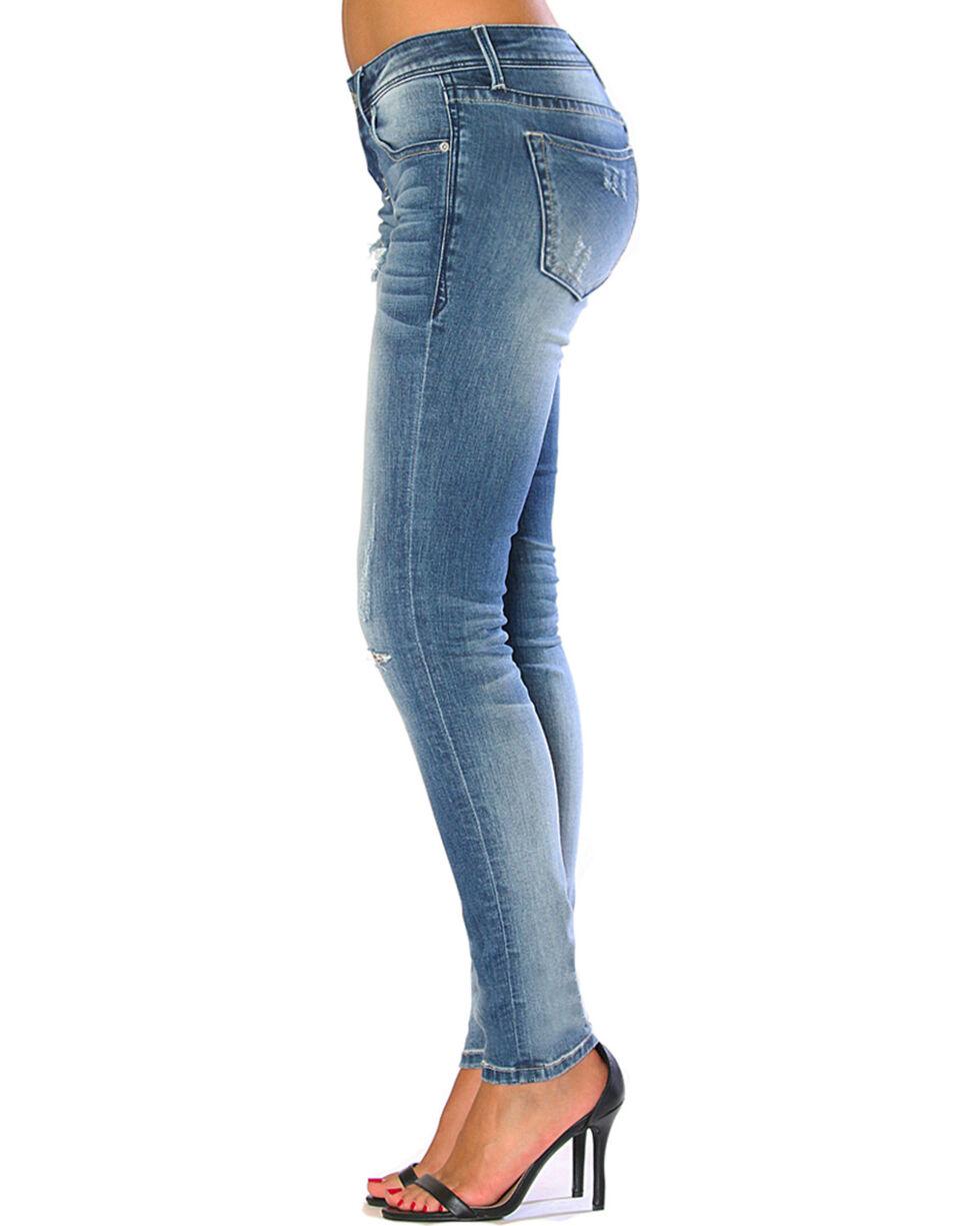 Grace in LA Women's Faded Light Destruction Jeans - Skinny , Indigo, hi-res