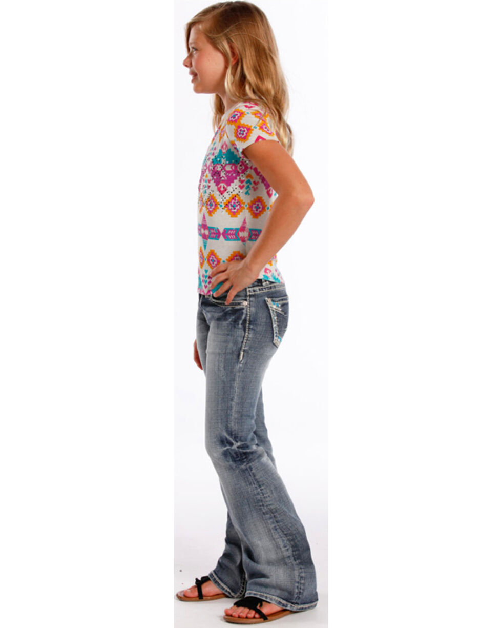 Rock & Roll Cowgirl Girls' Aztec Embroidered Jeans - Boot Cut , Indigo, hi-res