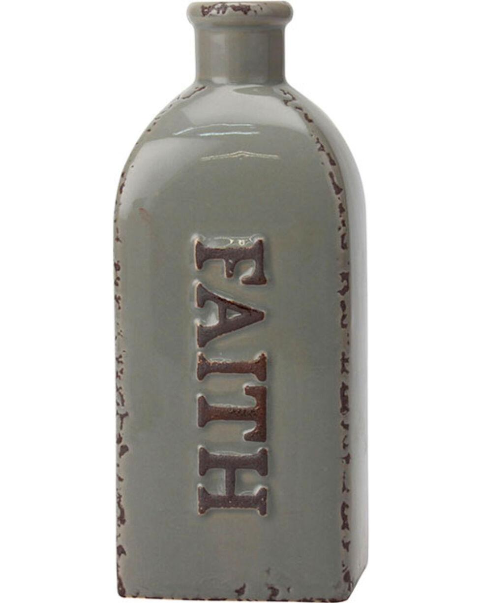 Stonebriar Worn Smoke Rectangular Ceramic Faith Bottle Vase, No Color, hi-res