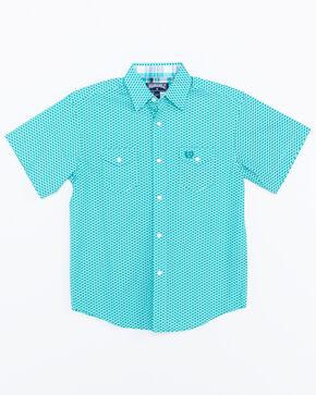 Panhandle Boys Geo Print Short Sleeve Western Shirt , Aqua, hi-res