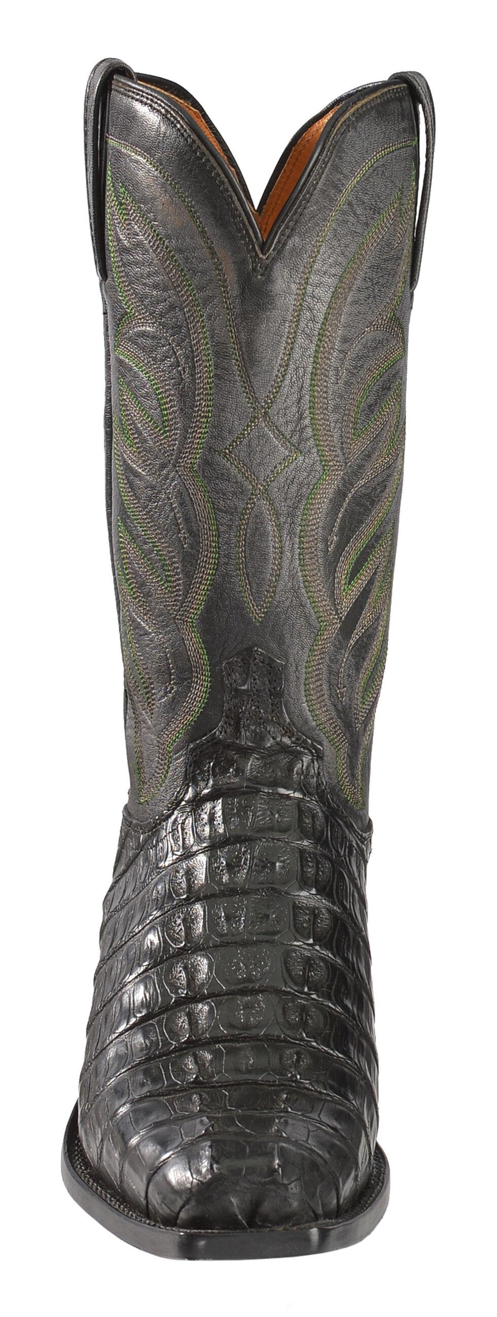 Lucchese Men's Handmade Landon Caiman Tail Cowboy Boots - Narrow Square Toe, Black, hi-res
