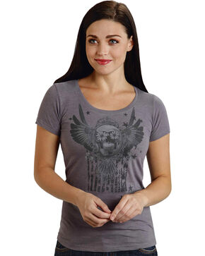Roper Women's Gray Sugar Skull Tee, Black, hi-res