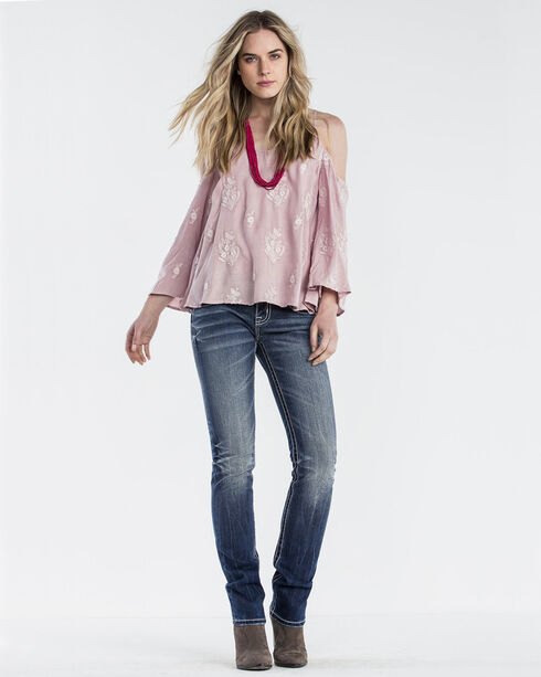 Miss Me Women's Pink Only For You Bell Sleeve Top , Pink, hi-res