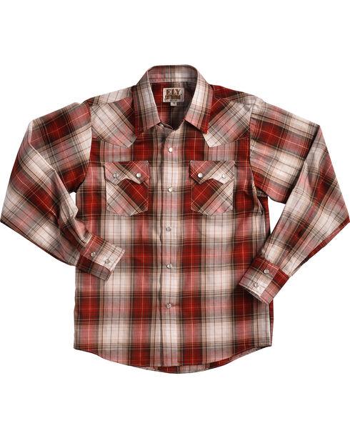Eli Cattleman Boys' Red Textured Plaid Sawtooth Pockets Snap Shirt, Red, hi-res