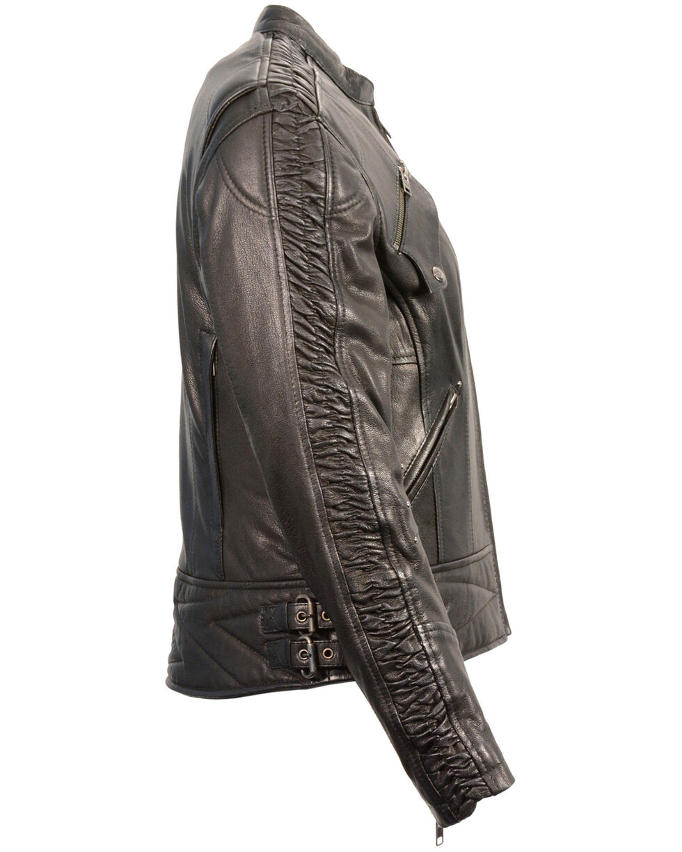Milwaukee Leather Women's Crinkle Arm Lightweight Racer Jacket - 5X, , hi-res