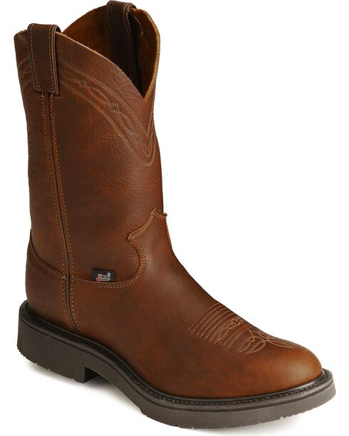 Justin JOW Pull-On Western Work Boots, Mahogany, hi-res