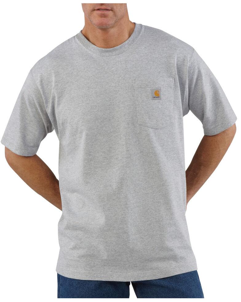 Carhartt Men's Solid Pocket Short Sleeve Work T-Shirt, Light Grey, hi-res