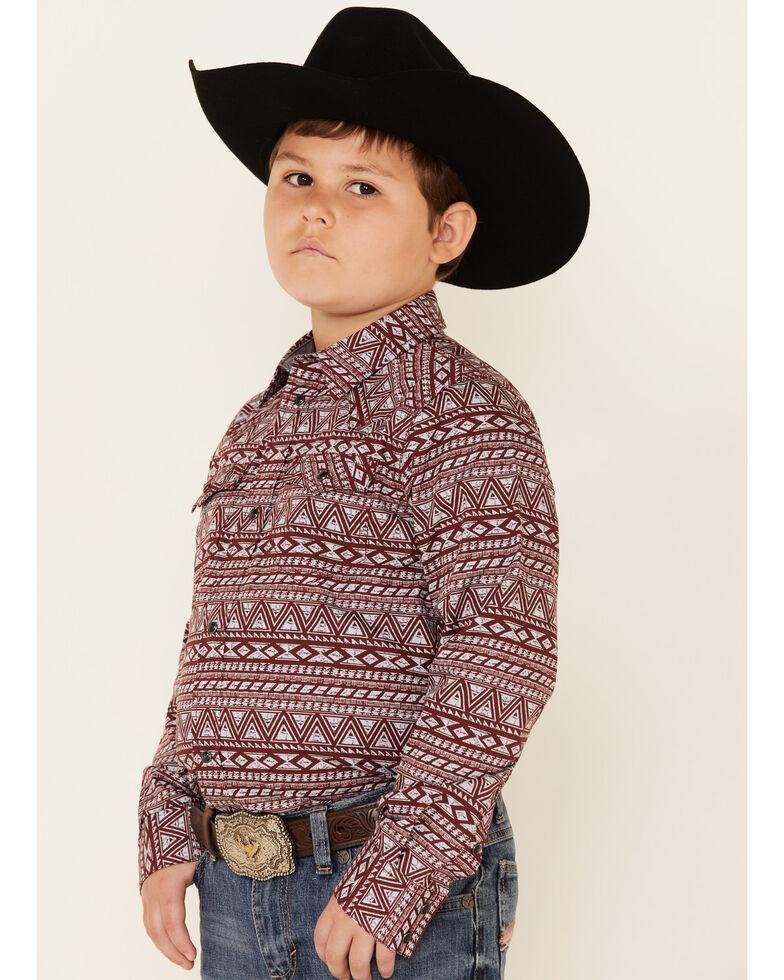 Cody James Boys' Sioux Aztec Print Long Sleeve Snap Western Shirt , Burgundy, hi-res