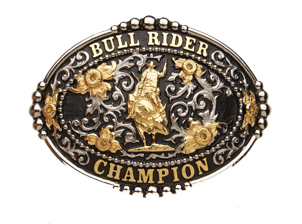 "AndWest ""Bull Rider Champion"" Black Buckle , Two Tone, hi-res"