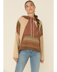 POL Women's Aztec Spiritual Boho Knit Hooded Sweatshirt , Red, hi-res