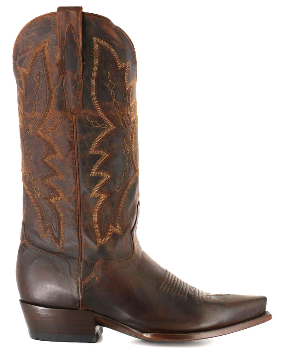 El Dorado Handmade Distressed Goat Cowboy Boots - Snip Toe, Brown, hi-res