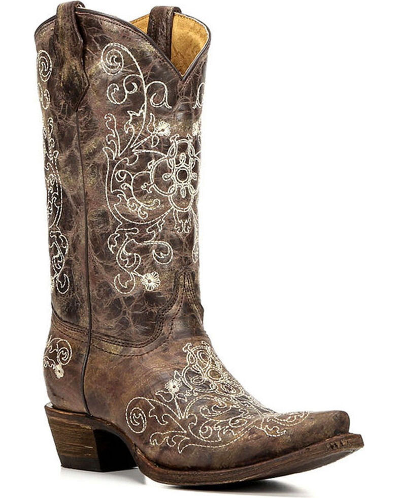 Corral Girls' Brown Cowhide Embroidered Cowgirl Boot - Snip Toe, Brown, hi-res