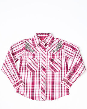 Cowgirl Hardware Girls' Triple Plaid Embroidered Long Sleeve Western Shirt  , Pink, hi-res