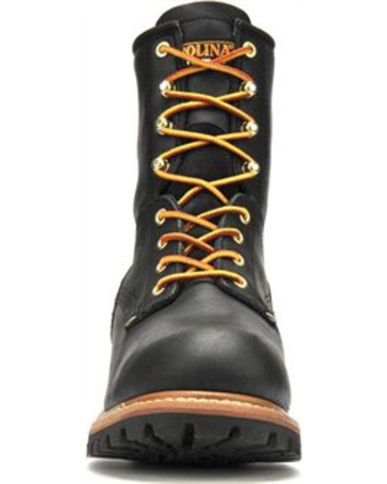 """Carolina Men's Black 8"""" Logger Boots - Steel Toe, Black, hi-res"""