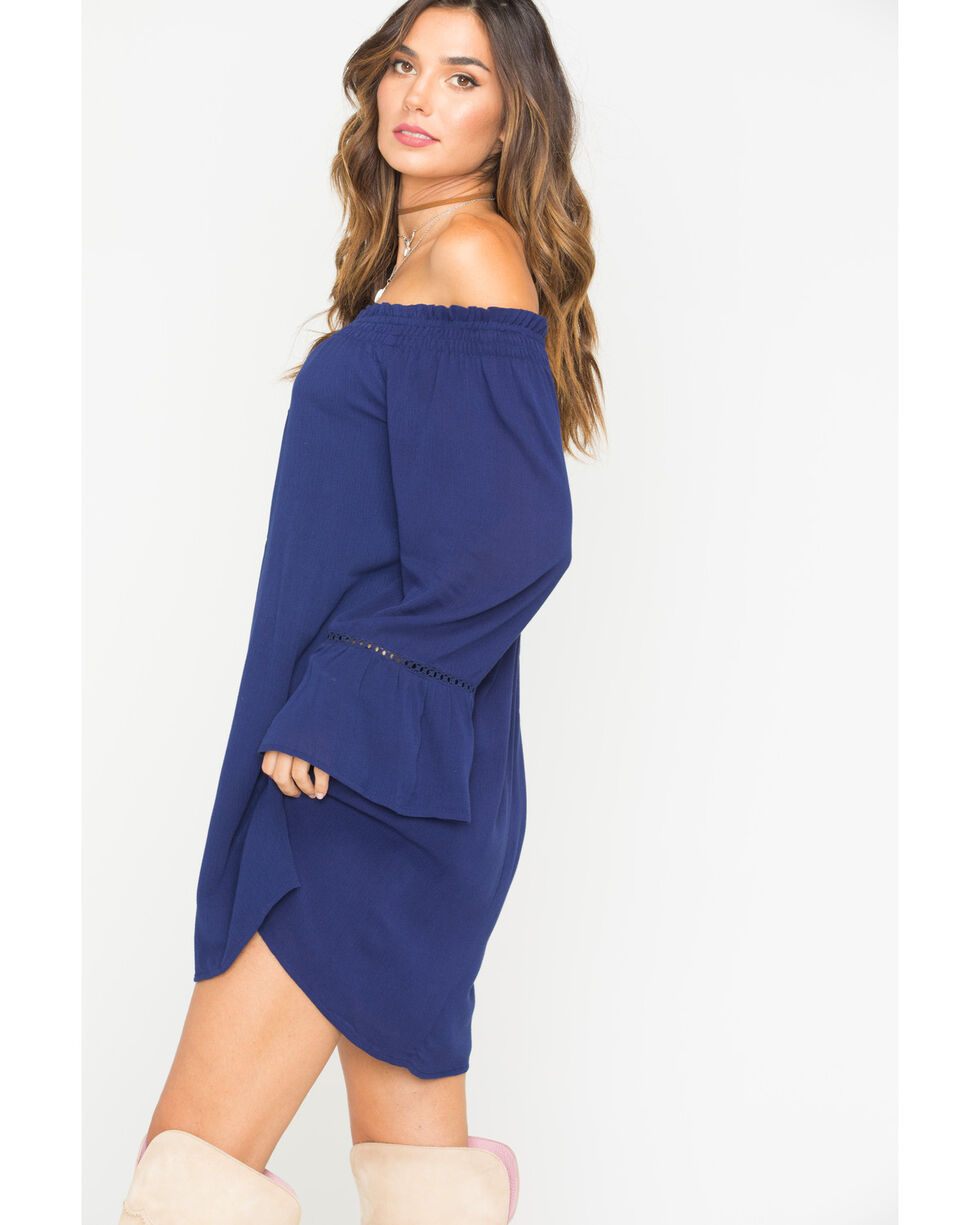 Miss Me Women's Navy Retro Felling Off The Shoulder Dress , Navy, hi-res