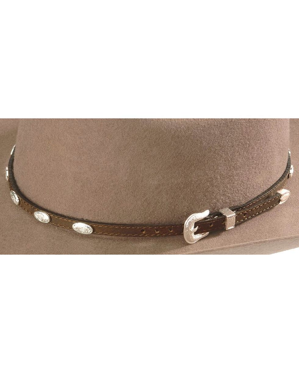 Concho Embellished Leather Hat Band, Brown, hi-res