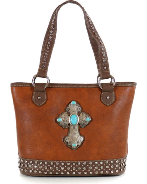 Shyanne Women's Cross Concho Tote , Brown, hi-res