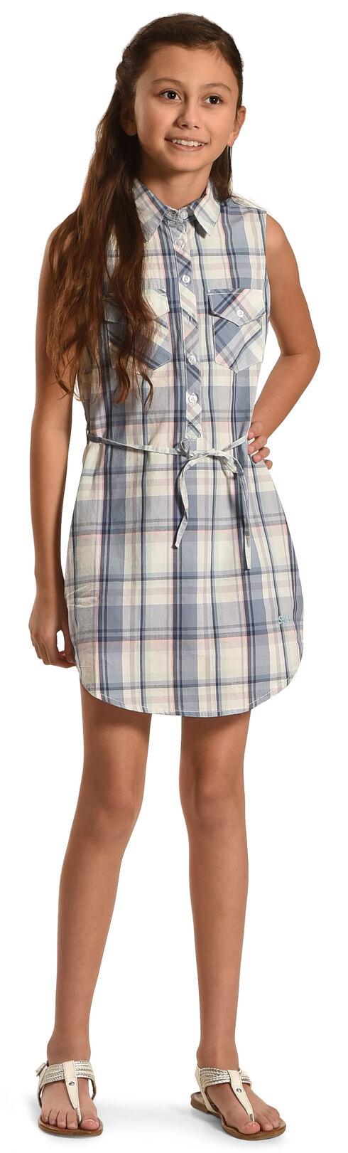 Silver Girls' Blue Plaid Shirt Dress , Blue, hi-res