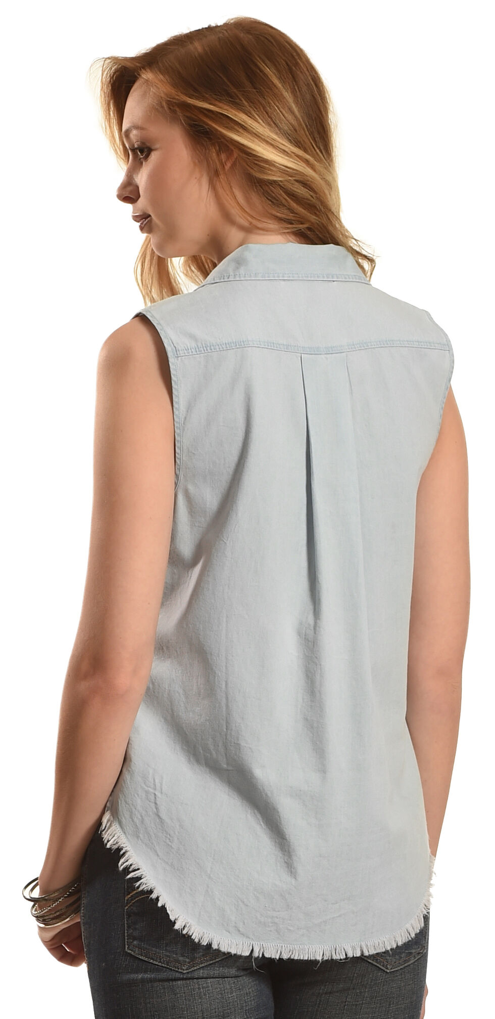 Derek Heart Women's Sleeveless Denim Button Down Shirt, Light Blue, hi-res