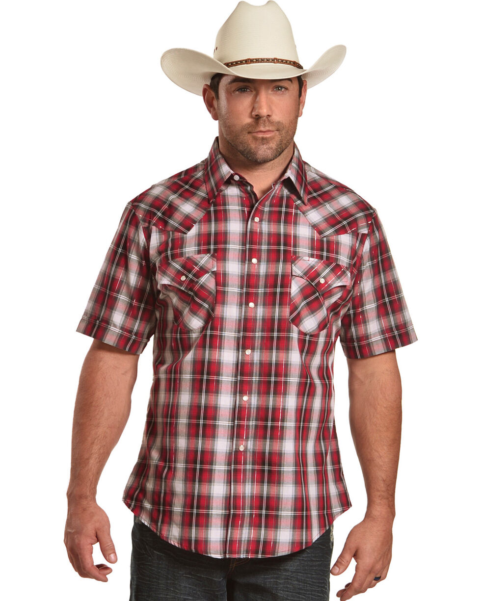 Ely Cattleman Men's Red Lurex Plaid Short Sleeve Shirt , , hi-res
