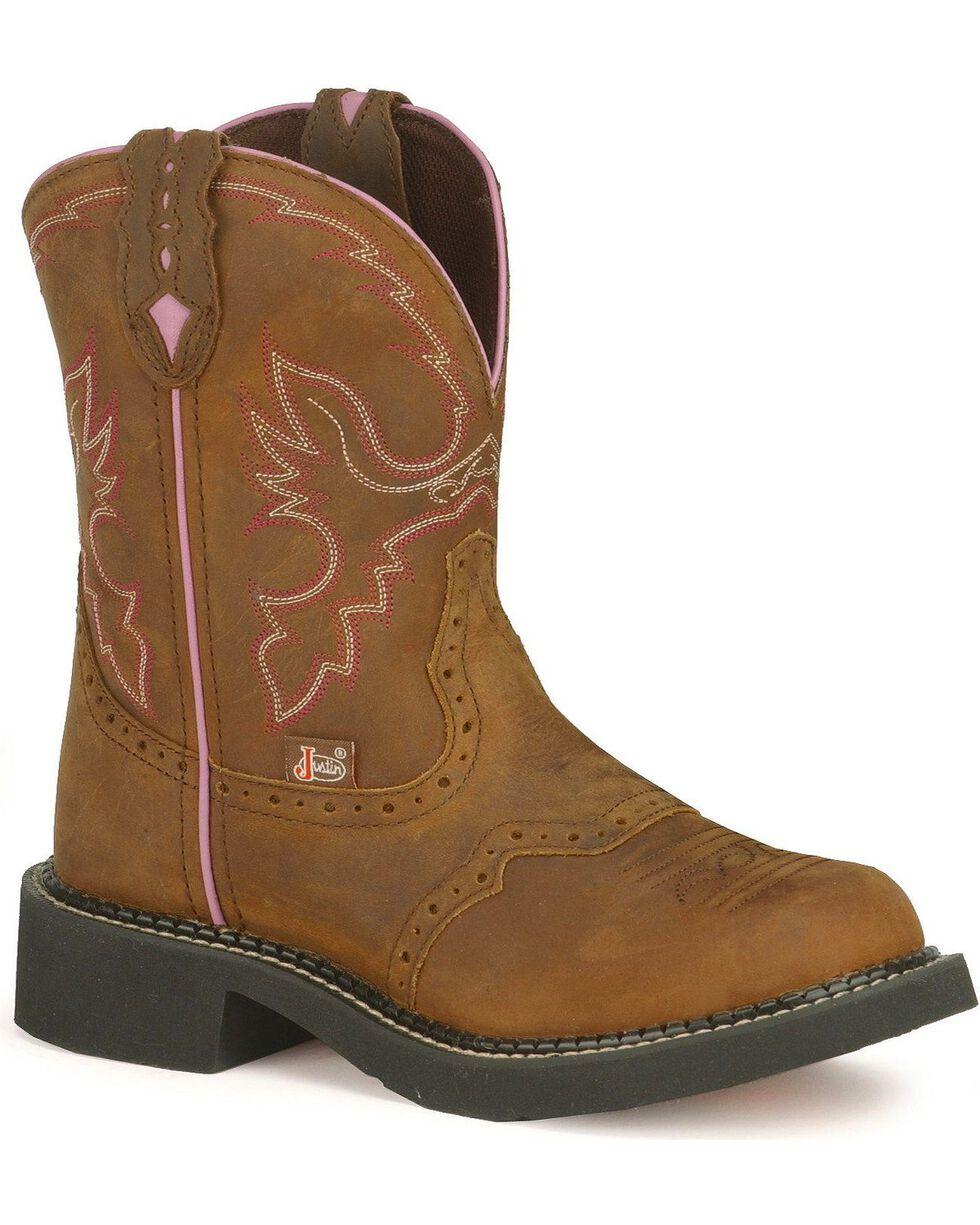 Justin Gypsy Women's Gemma Aged Bark Cowgirl Boots - Round Toe, Aged Bark, hi-res