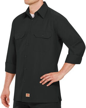 Red Kap Men's Solid Rip Stop Long Sleeve Work Shirt , Black, hi-res