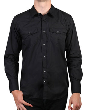 Gibson Trading Co. Men's Black Lava Long Sleeve Snap Shirt - Big, Black, hi-res