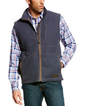 Ariat Men's Rebar Canvas Softshell Vest - Tall, Grey, hi-res