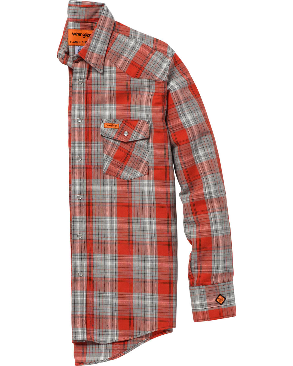 Wrangler Men's Orange FR Lightweight Work Shirt , Orange, hi-res