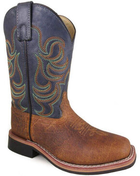 Smoky Mountain Youth Boys' Jesse Bison Leather Print Boot - Square Toe, Brown, hi-res