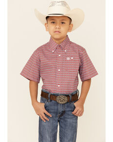 Wrangler Boys' Red Geo Print Short Sleeve Button-Down Western Shirt , Red, hi-res