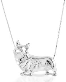 Kelly Herd Women's Large Corgi Necklace , Silver, hi-res