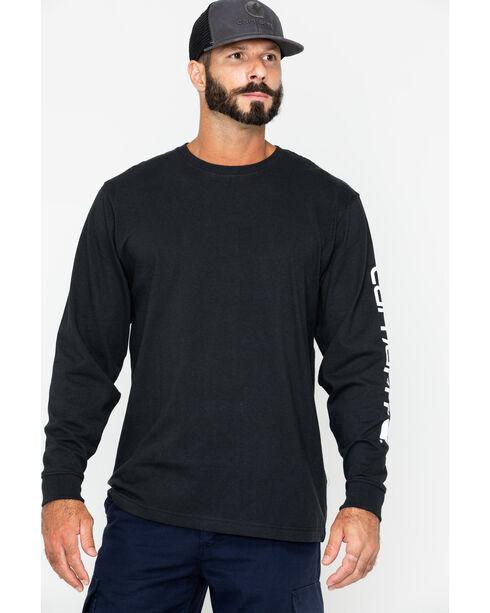 Carhartt Signature Logo Sleeve Knit T-Shirt - Big & Tall, Black, hi-res