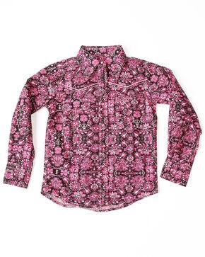 Cowgirl Hardware Girls' Peacock Print Long Sleeve Western Shirt , Black, hi-res