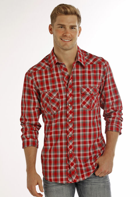 Rock & Roll Cowboy Men's Red Yarndye Plaid Long Sleeve Shirt , , hi-res