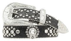 Blazin Roxx Black Tooled Embellished Belt, Black, hi-res