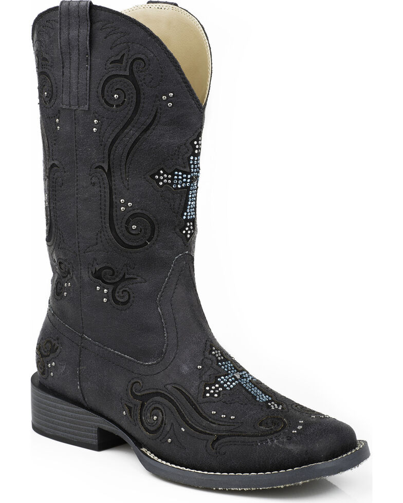 Roper Women's Bling Crystal Cross Faux Leather Cowgirl Boots - Square Toe, Black, hi-res