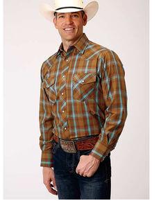 Roper Boys' Rust Classic Plaid Long Sleeve Snap Western Shirt , Rust Copper, hi-res