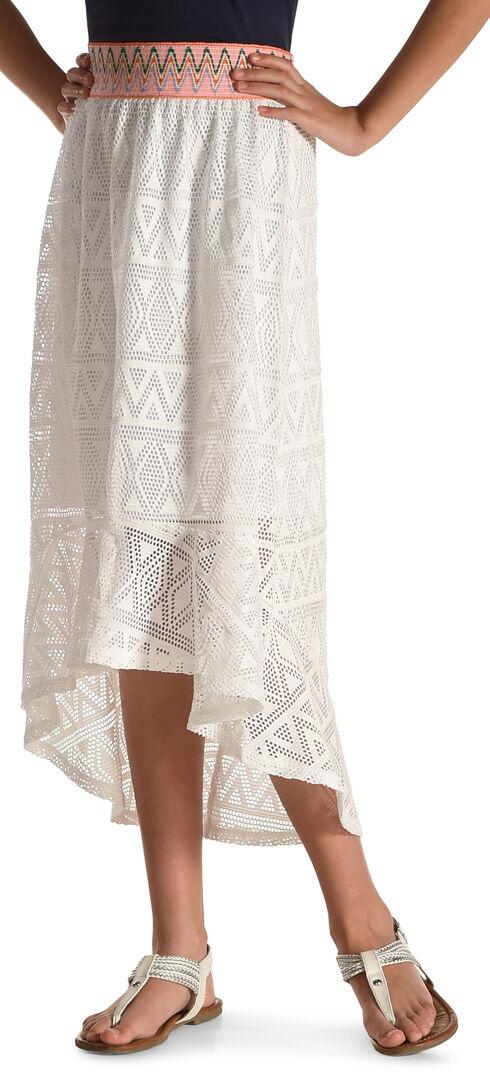 Derek Heart Girls' White Hi-Lo Crochet Maxi Skirt , White, hi-res