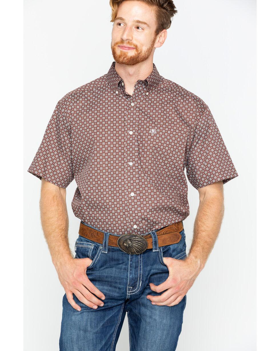 Ariat Men's Brown Nixon Print Short Sleeve Shirt , Brown, hi-res