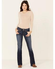 Ariat Women's R.E.A.L. Mid Rise Janet Boot Cut Jeans, Blue, hi-res