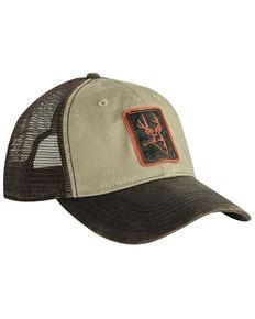 Dri Duck Men's Tan Buck Icon Patch Waxy Cotton Trucker Cap, Tan, hi-res