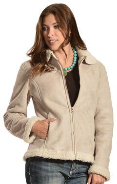 Red Ranch Women's Short Faux Suede Sherpa Jacket, Tan, hi-res