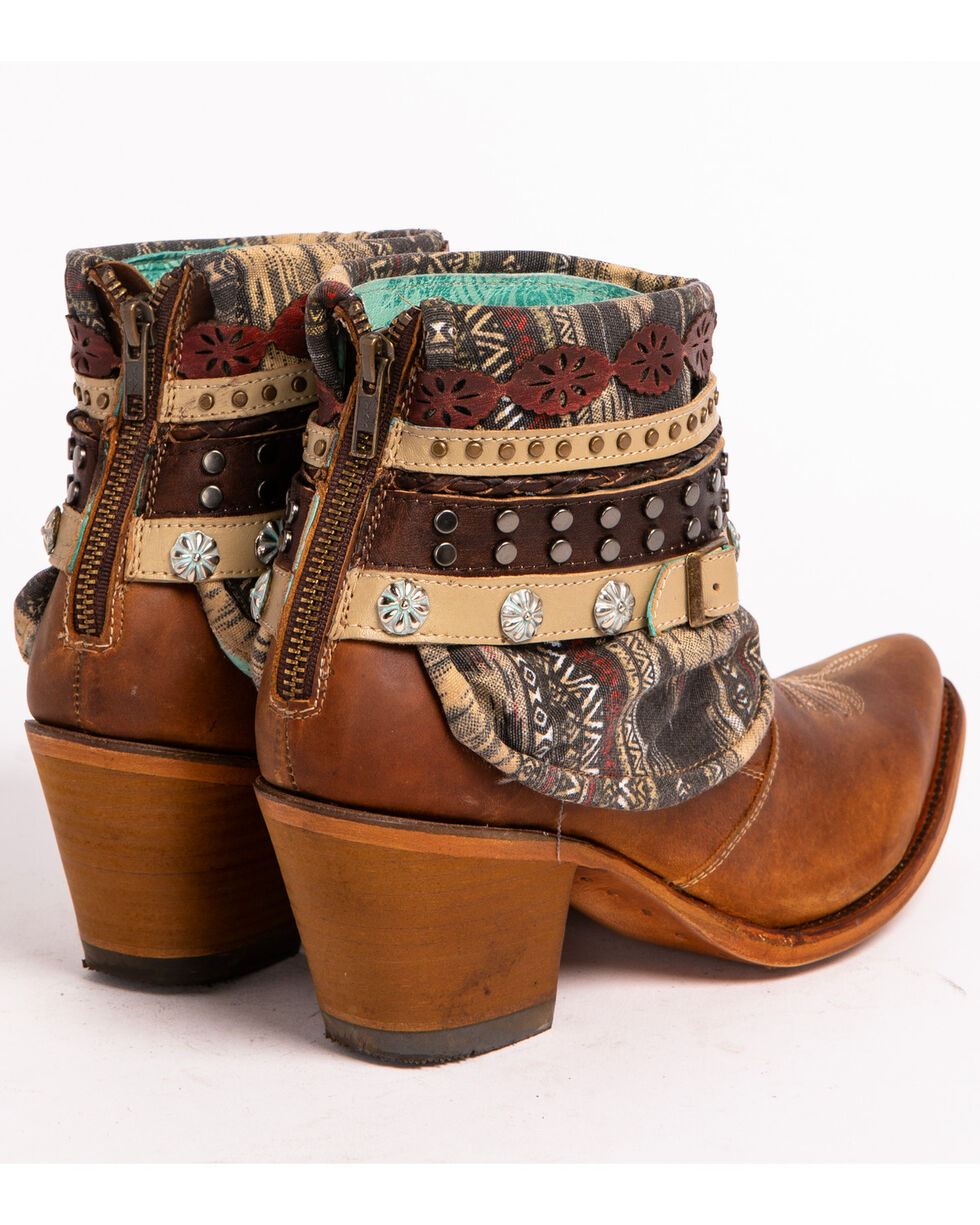 Corral Women's Honey Studded & Woven Harness Ankle Boots - Pointed Toe, Honey, hi-res
